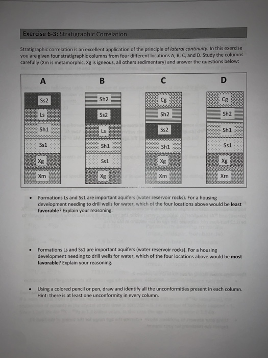 Correlation exercises stratigraphic STRATIGRAPHY AND
