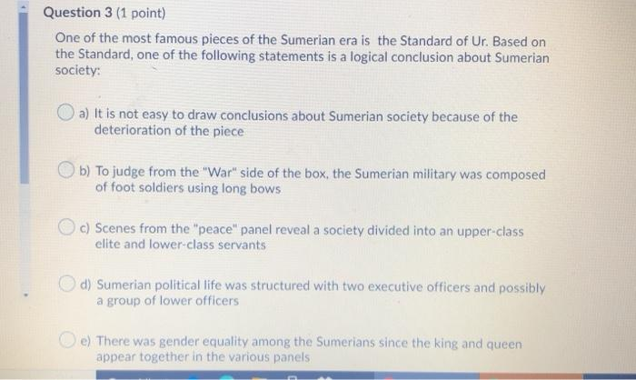 Question 3 (1 point) One of the most famous pieces of the Sumerian era is the Standard of Ur. Based on the Standard, one of t