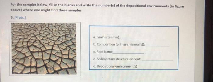 For the samples below, fill in the blanks and write the number(s) of the depositional environments (in figure above) where on