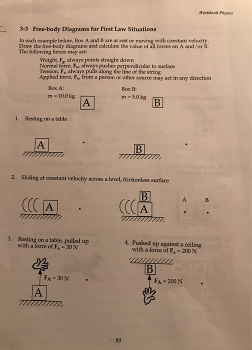 Solved Workbook Physics 3 3 Free Body Diagrams For First Chegg Com