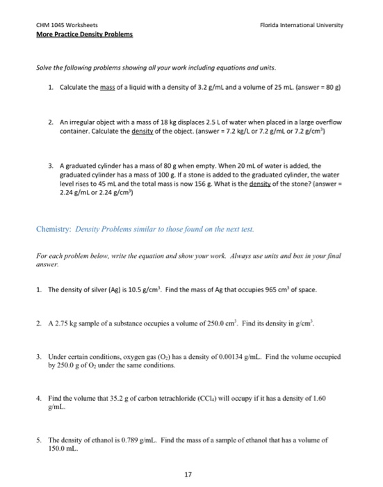Solved Chm 1045 Worksheets More Practice Density Problems Chegg Com