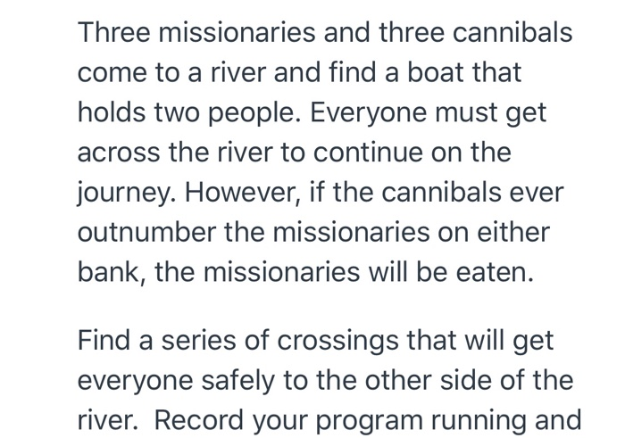 Three Missionaries And Three Cannibals Come To A R    | Chegg com