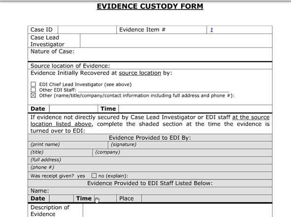 Solved List Three Items That Should Be On An Evidence Custody Chegg Com