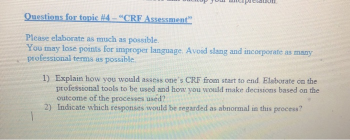 Solved Op Jouwcipiul Questions For Topic 4 Crf Asses Chegg Com