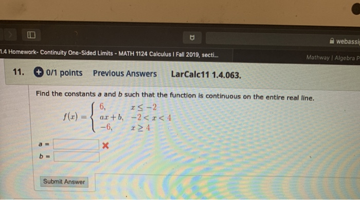 Solved: A Webi 14 Homework. Continuity One-Sided Limits ... on