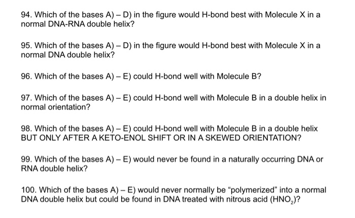 Solved: 94  Which Of The Bases A) - D) In The Figure Would