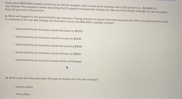 Solved Song Earns 124 000 Taxable Income As An Interior Chegg Com
