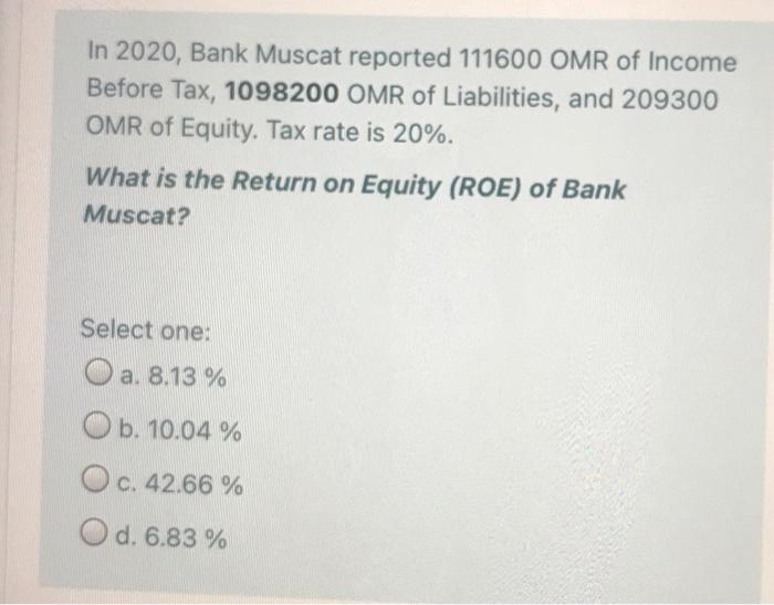 In 2020, Bank Muscat reported 111600 OMR of Income Before Tax, 1098200 OMR of Liabilities, and 209300 OMR of Equity. Tax rate is 20%. What is the Return on Equity (ROE) of Bank Muscat?