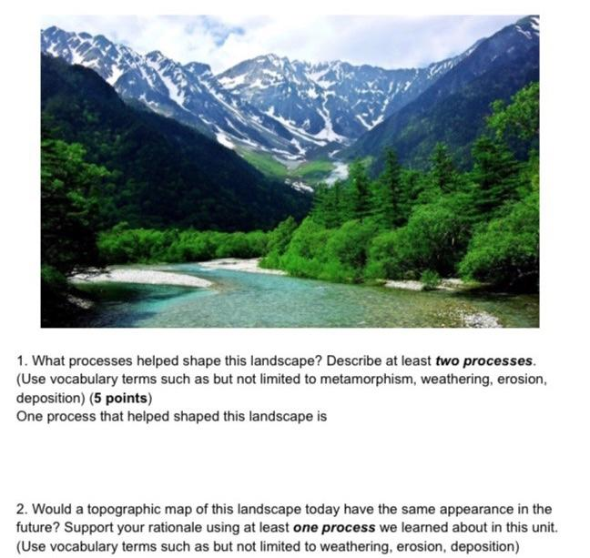 1. What processes helped shape this landscape? Describe at least two processes. (Use vocabulary terms such as but not limited