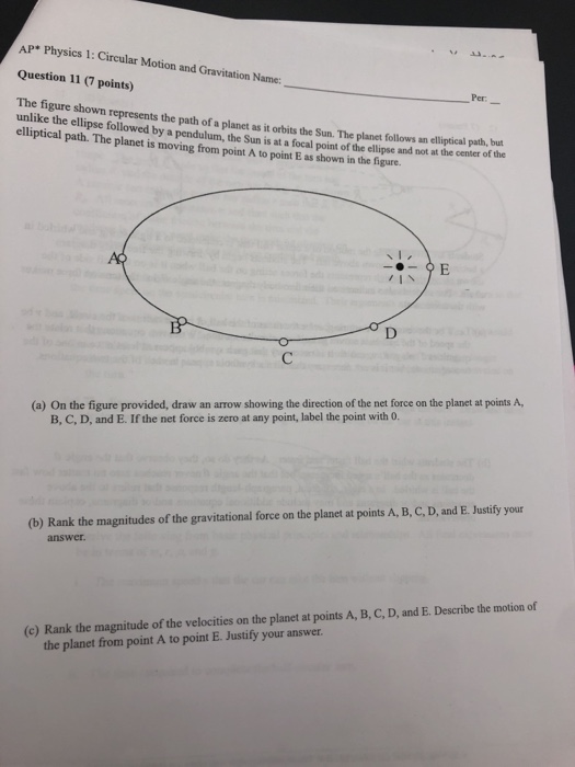 ap physics 1 circular motion and gravitation free response
