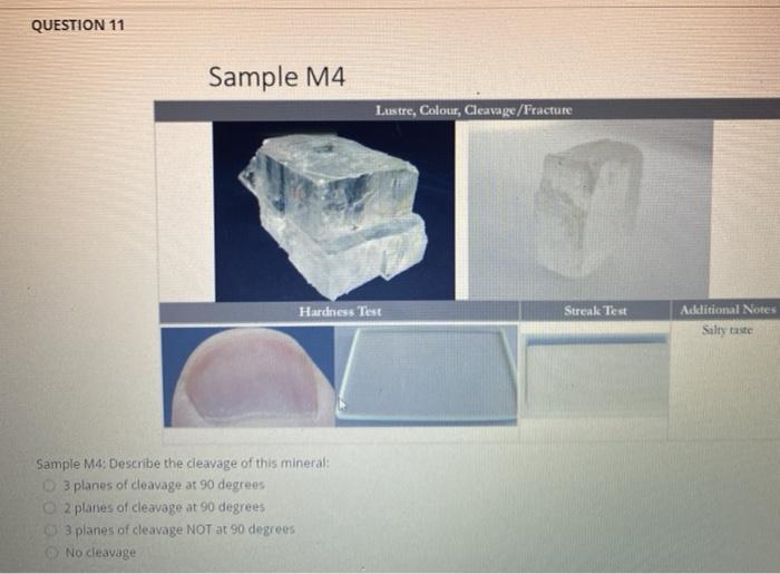 QUESTION 11 Sample M4 Lustre, Colour, Cleavage/Fracture Hardness Test Streak Test Acklitional Notes Salty taste Sample M4: De