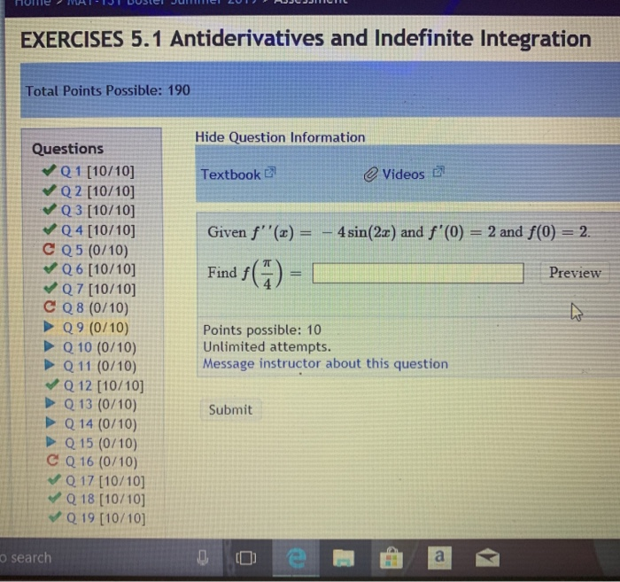 Solved: EXERCISES 5 1 Antiderivatives And Indefinite Integ