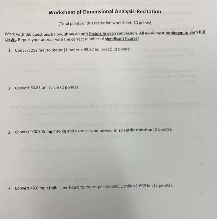 Solved Worksheet Of Dimensional Analysis Recitation Tota Chegg Com