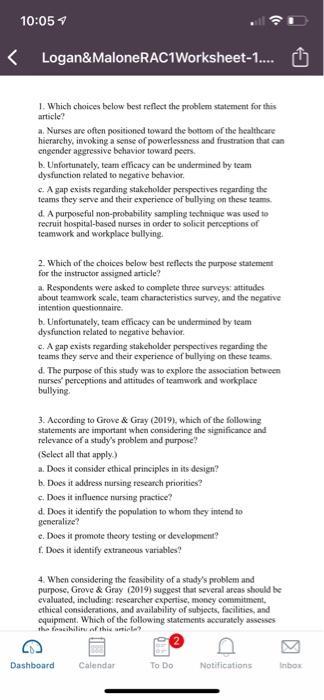 10:05 く Logan&MaloneRAC1Worksheet-1.... Ù 1. Which choices below best reflect the problem statement for this article? a. Nurs