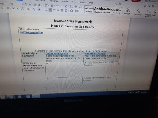 erentes View Sertian Tools Qar AAQA 51 Abc AaBb AaBbc AaBbc UA.XX AA-AD- Heding Hering Mgral Issue Analysis Framework Issues