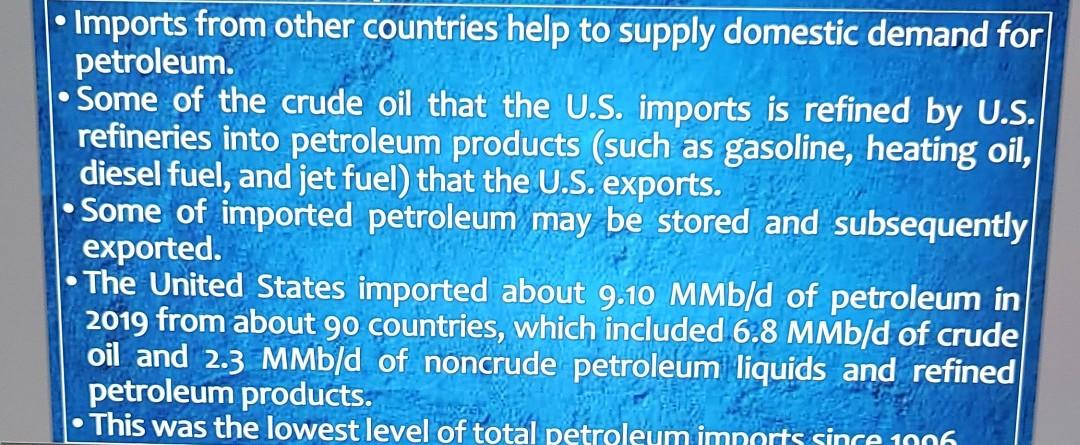 Imports from other countries help to supply domestic demand for petroleum. Some of the crude oil that the U.S. imports is ref