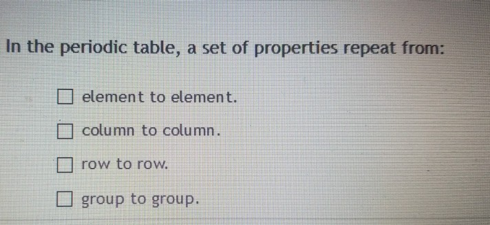 Solved In The Periodic Table A Set Of Properties Repeat