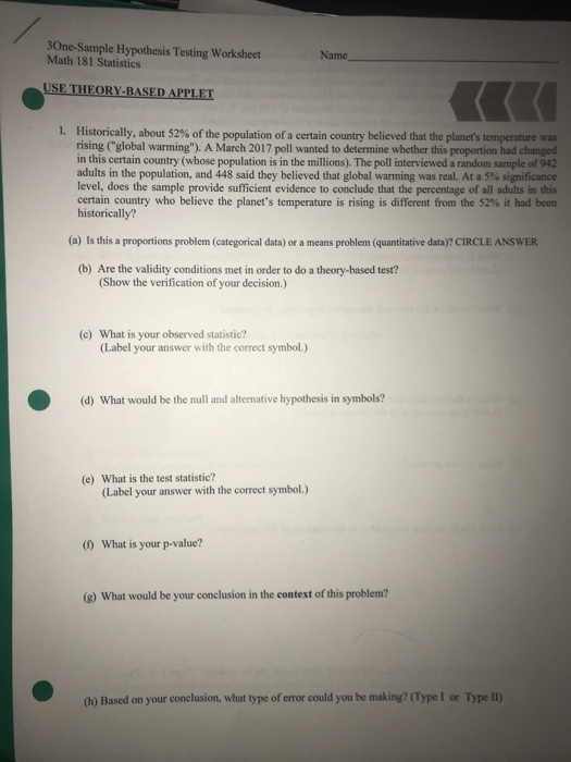 Solved: 30ne-Sample Hypothesis Testing Worksheet Math 181 ...