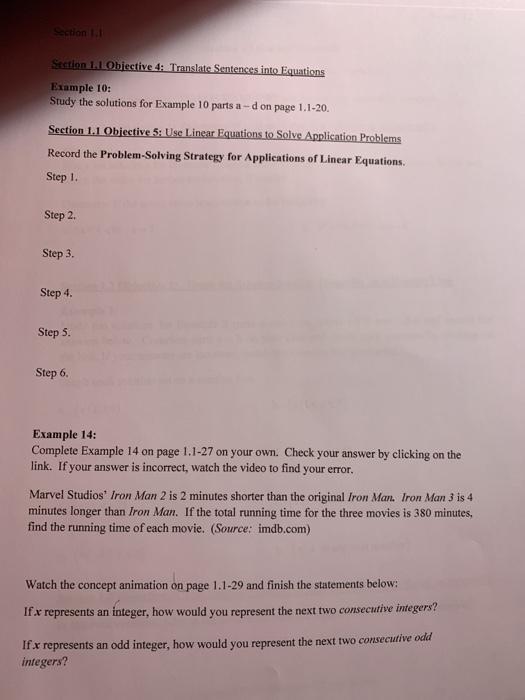 Section 1 1 Section 1 1 Objective 4: Translate Sen