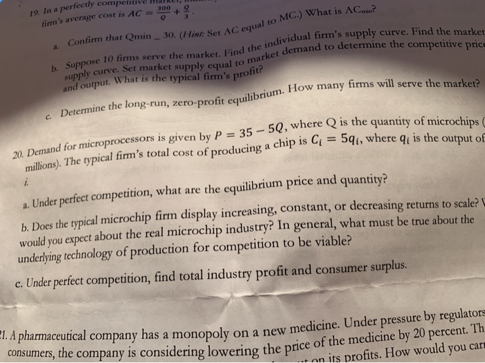 Solved: 19  In A Perfectly Compe +   Firm's Average Cost I