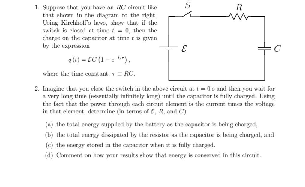 Solved  R 1  Suppose That You Have An Rc Circuit Like That