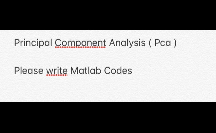 Solved: Principal Component Analysis (Pca) Please Write Ma