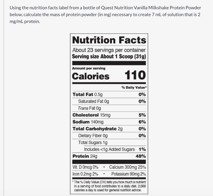 Nutrition Facts Label From A Bottle