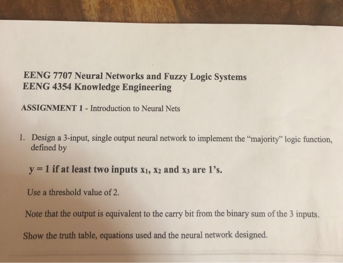 EENG 7707 Neural Networks And Fuzzy Logic Systems