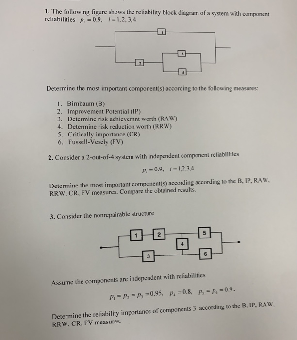 reliability block diagram 2 out of 3 1 the following figure shows the reliability bloc chegg com  1 the following figure shows the