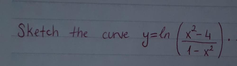 Sketch the curve y y=ln (x²4 11-x2