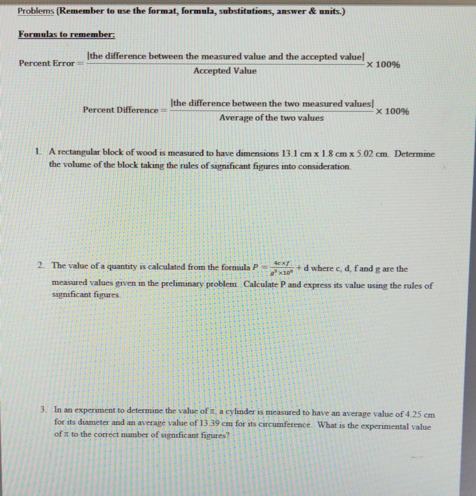 Fastest Experimental Value And Accepted Value Formula Inside Percent Error Worksheet Answer Key