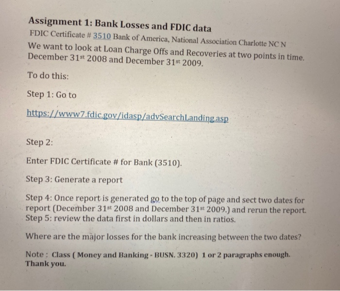 Assignment 1 Bank Losses And Fdic Data Fdic Certi Chegg Com