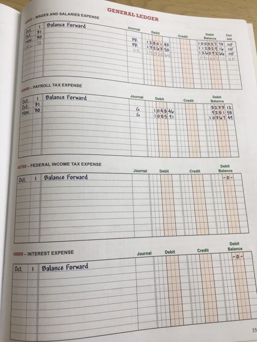GENERAL LEDGER - WAGES AND SALARIES EXPENSE 1 71 30 Balance Forward Journal Det Cr Ad NUK ACL/31 VY 1280 143 PR 1324350 PRH s