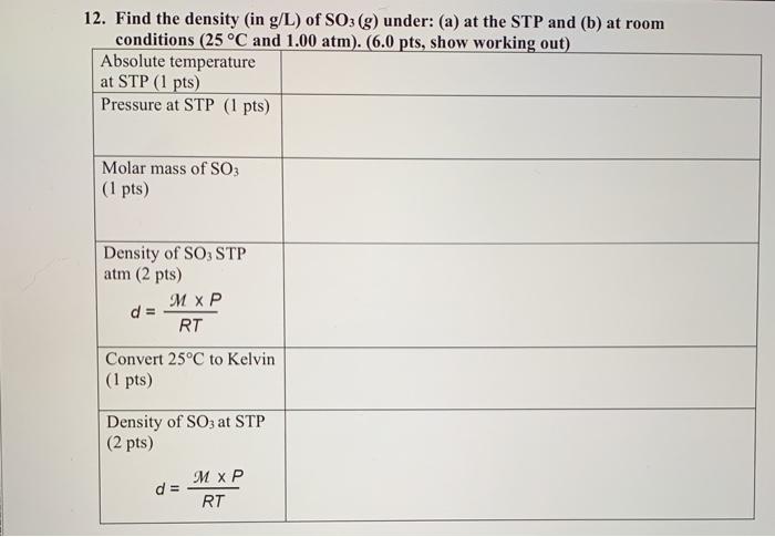 Solved: 12. Find The Density (in G/L) Of SO3(g) Under: (a)... | Chegg.com