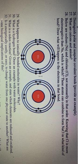 Solved 26 Distinguish Polar And Nonpolar Covalent Bonds Chegg Com