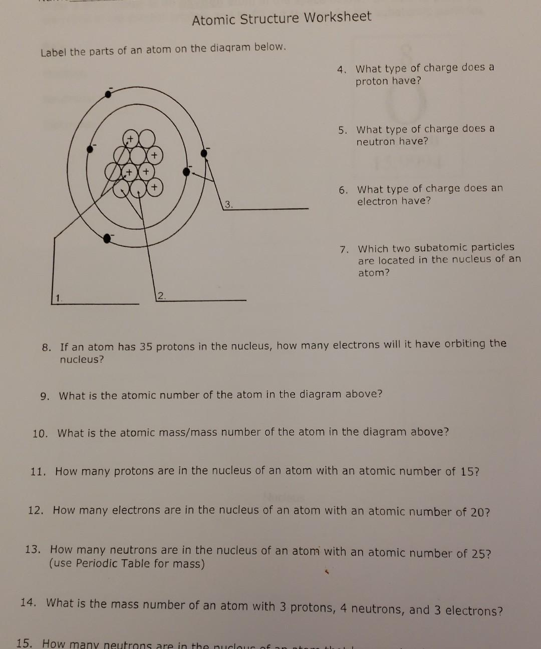 Solved Atomic Structure Worksheet Label the parts of an atom For Parts Of An Atom Worksheet
