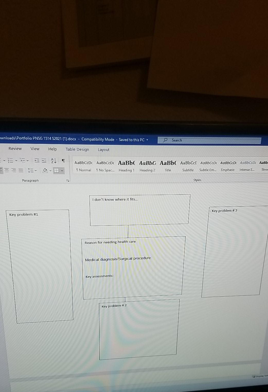 ownloads Portfolio PNSG 1514 S2021 (1).docx - Compatibility Mode - Saved to this PC- Search Review View Help Table Design Lay