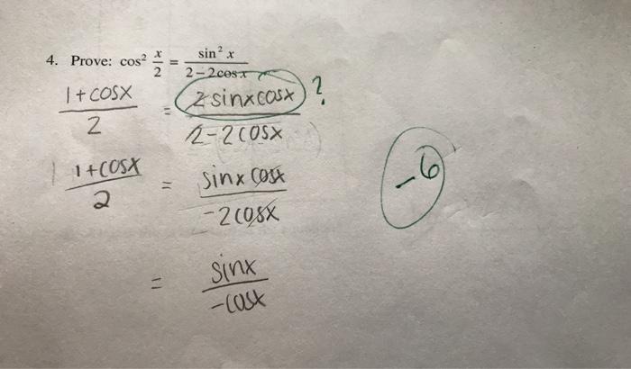 Solved Sinx Prove Cosa Cosx 2 2 Cest 2sinx Cosx 2 2 Chegg Com