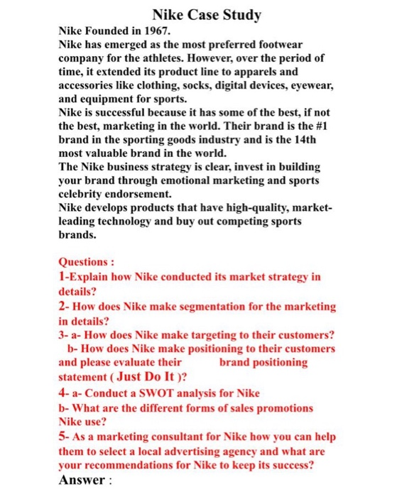 Adjuntar a preocuparse Armario  Solved: Nike Case Study Nike Founded In 1967. Nike Has Eme... | Chegg.com