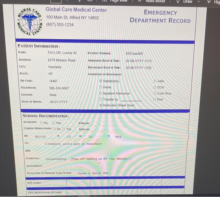 aloud Draw Hig CARE ELDRA Global Care Medical Center 100 Main St, Alfred NY 14802 (607)555-1234 EMERGENCY DEPARTMENT RECORD