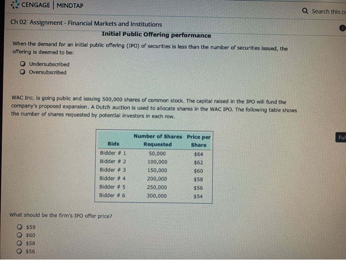 Cengage learning finance ipo homework pricing problems