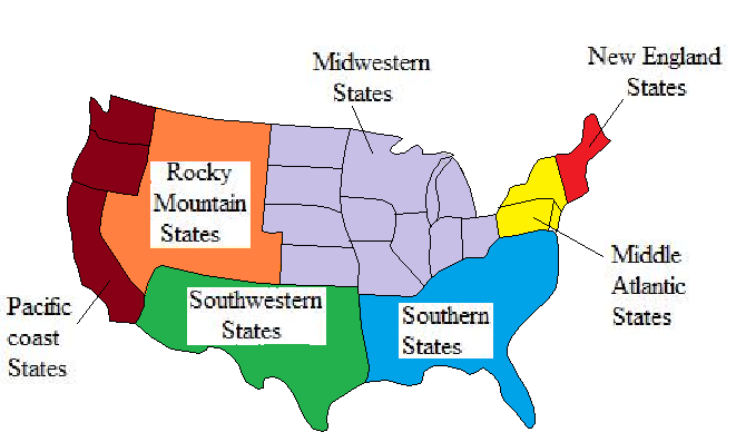 Solved: REGIONS OF THE COUNTRY The continental United States ...