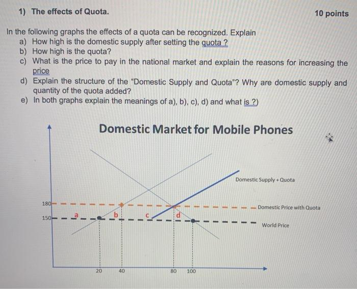 1) The effects of Quota. 10 points In the following graphs the effects of a quota can be recognized. Explain a) How high is t