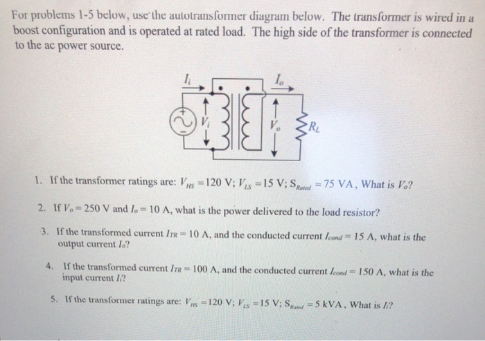 solved for problems 15 below use the autotransformer di