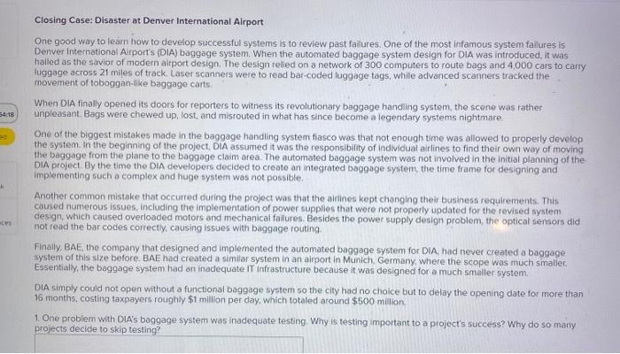 Solved Closing Case Disaster At Denver International Air Chegg Com
