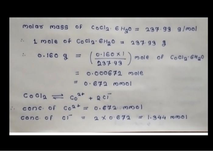 Molar Mass Of CoCl2: 6 H2O = 237.99 G/mol : 1 Mole ...