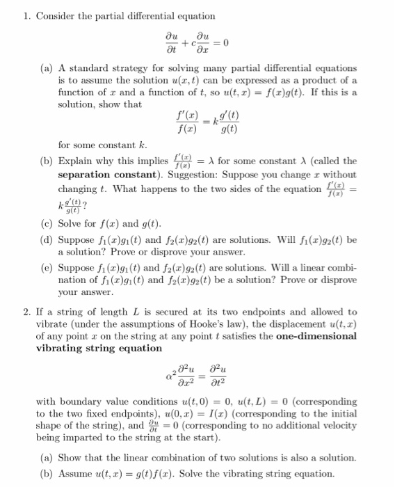 Solved: 1  Consider The Partial Differential Equation = (0
