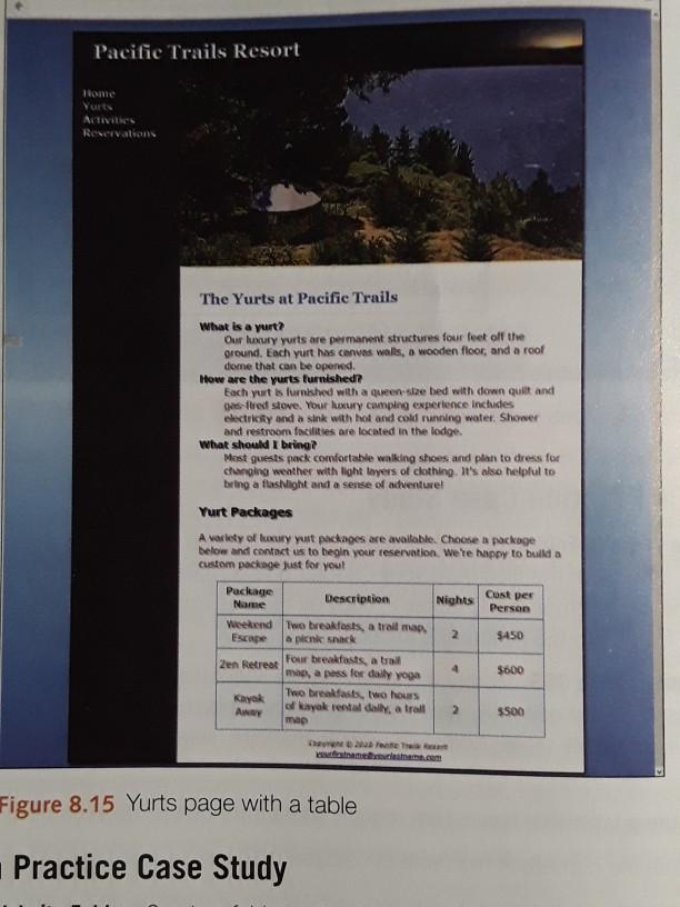 Solved Pacific Trails Resort Pg 396 397 Web Development A Chegg Com