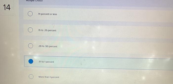 Multiple Choice o 4 percent or less o О 15 to 25 реrсеnt o 26 tо 50 percent o 51 to 1 percent o More than 1 percent