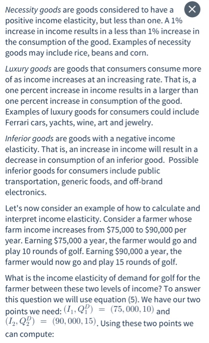 Solved We Focus On Income As A Determinant Of Demand In T